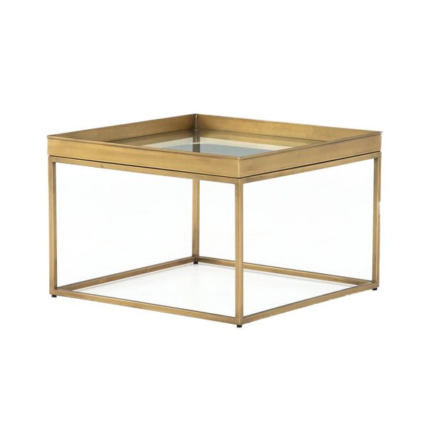 Eladio Bunching Table Antique Brass, Tempered Glass