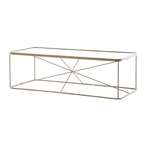 Tertius Coffee Table Antique Brass, Tempered Glass