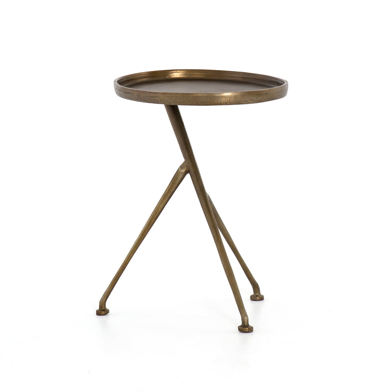 Sirena End Table Raw Antique Brass