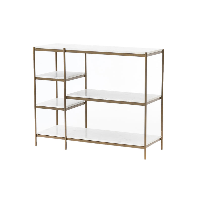 Eginhard Console Table Antique Brass, Polished White Marble