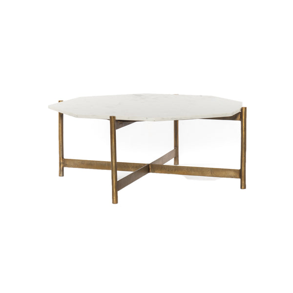 Juston Coffee Table Raw Brass, Polished White Marble
