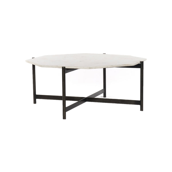 Juston Coffee Table Hammered Grey W/Clear Powder Coat, Polished White Marble