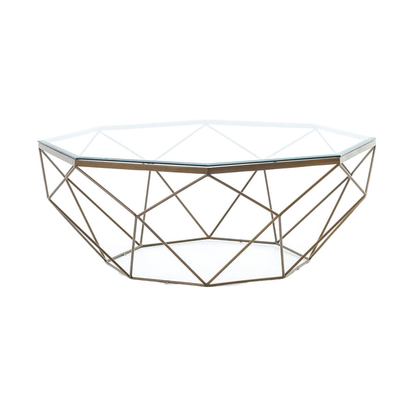Arrian Coffee Table Antique Brass, Tempered Glass