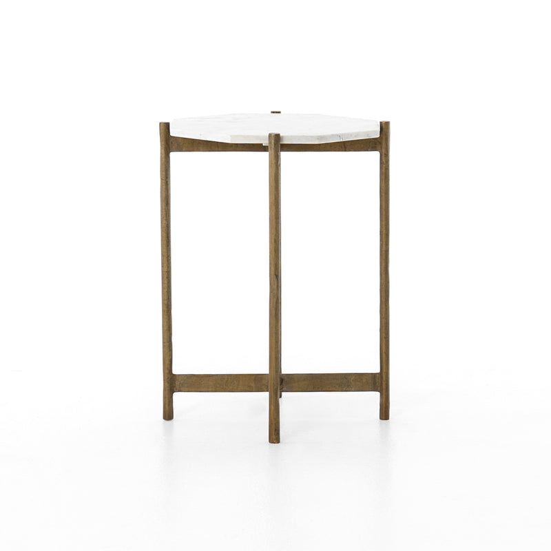 Rosalia End Table Raw Brass, Polished White Marble