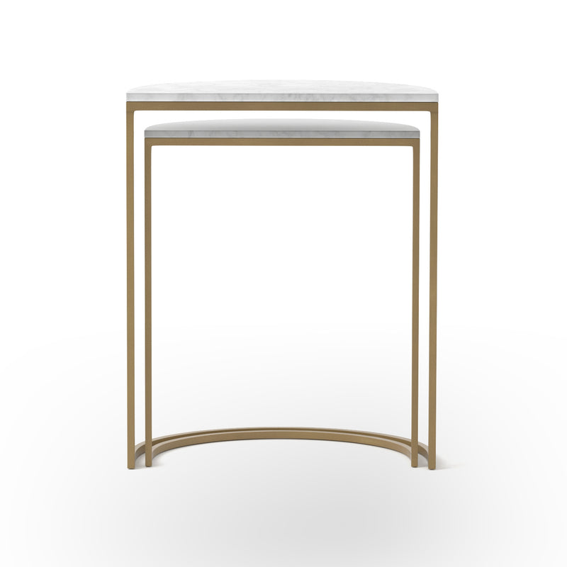 Carolena End Table Iron Matte Brass, White Marble