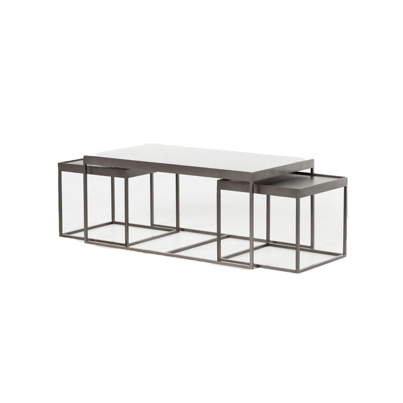 Appius Nesting Coffee Table Gunmetal, Polished White Marble