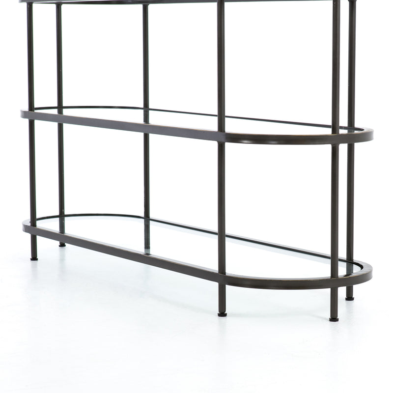 Martina Console Table Rubbed Gunmetal, Tempered Glass