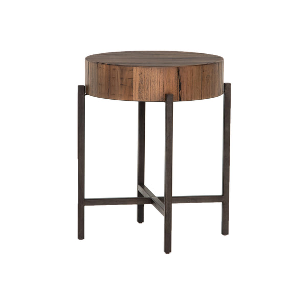 Xaviera End Table Copper Patina, Natural Brown Hardwood