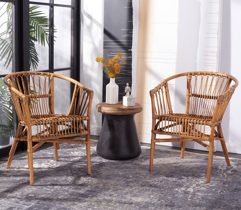 Dora Rattan Accent Chair Honey Brown Wash Set 2