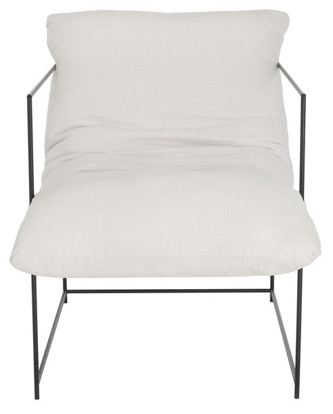 Ross Pillow Top Arm Chair Ivory Black