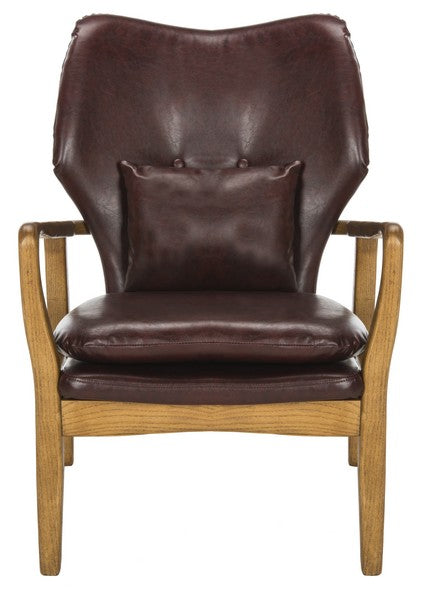 Carlie Accent Chair Burgundy/ Natural