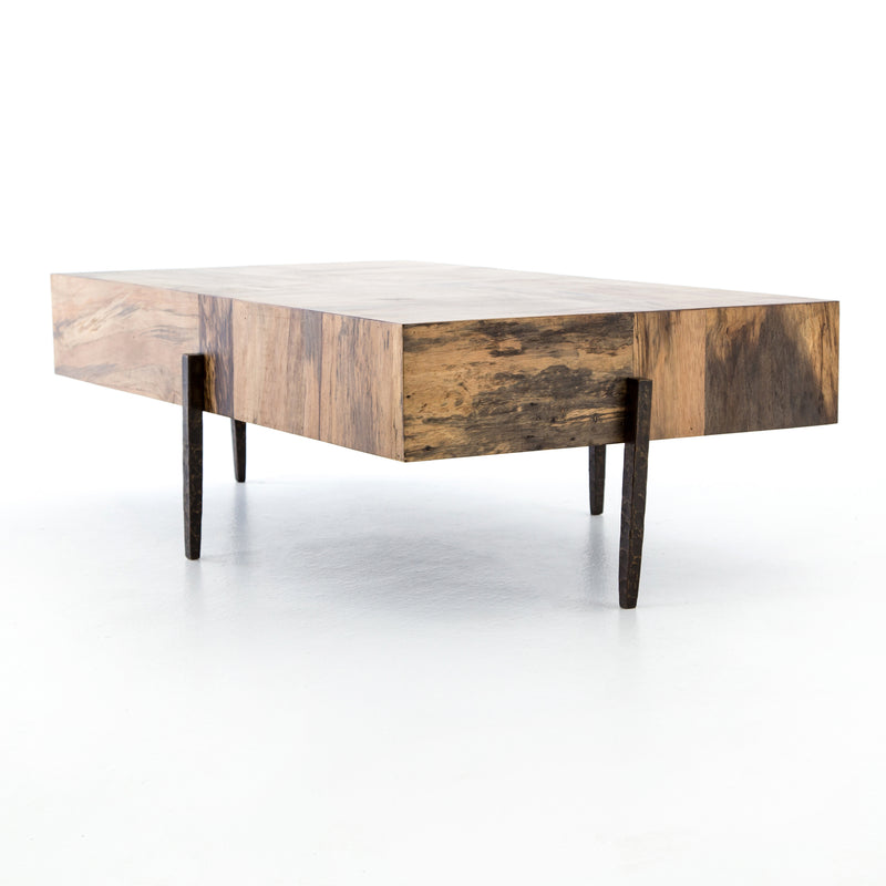 Slade Coffee Table Dark Hammered Iron, Spalted Primavera