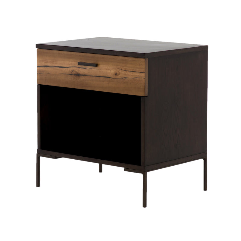 Franchon End Table Espresso Ash, Natural Yukas Resin, Bronzed Iron