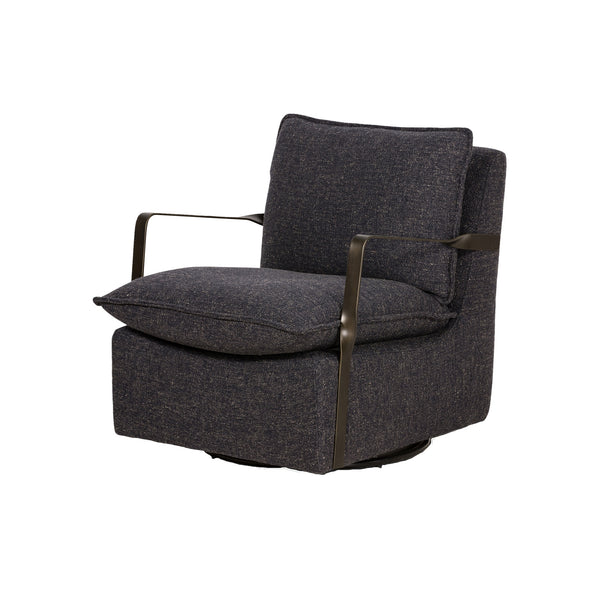 Arminta Swivel Chair Thames Slate, Aged Bronze