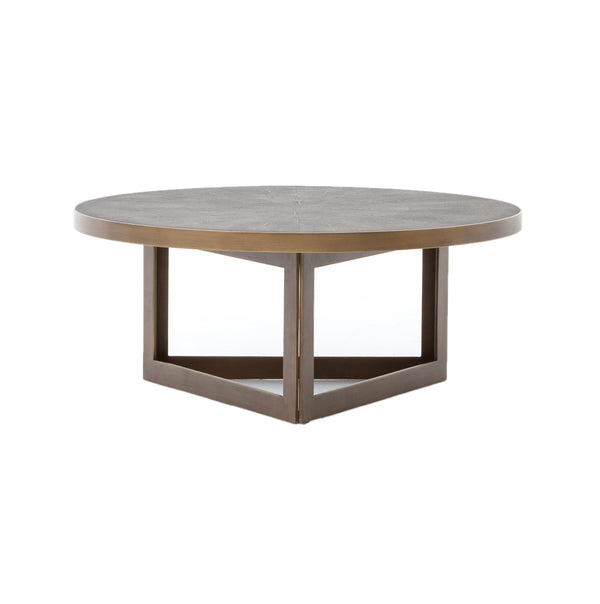 Jervaice Coffee Table Antique Brass, Grey Shagreen