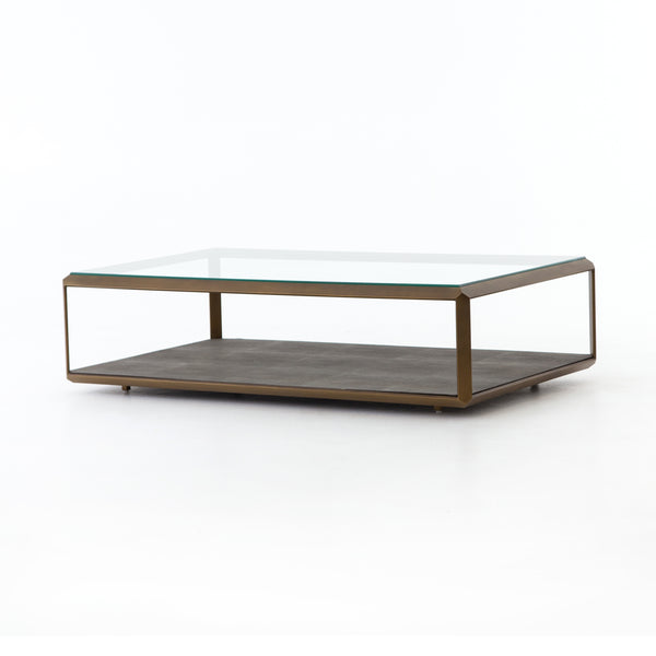 Morrie Coffee Table Antique Brass, Grey Shagreen, Tempered Glass