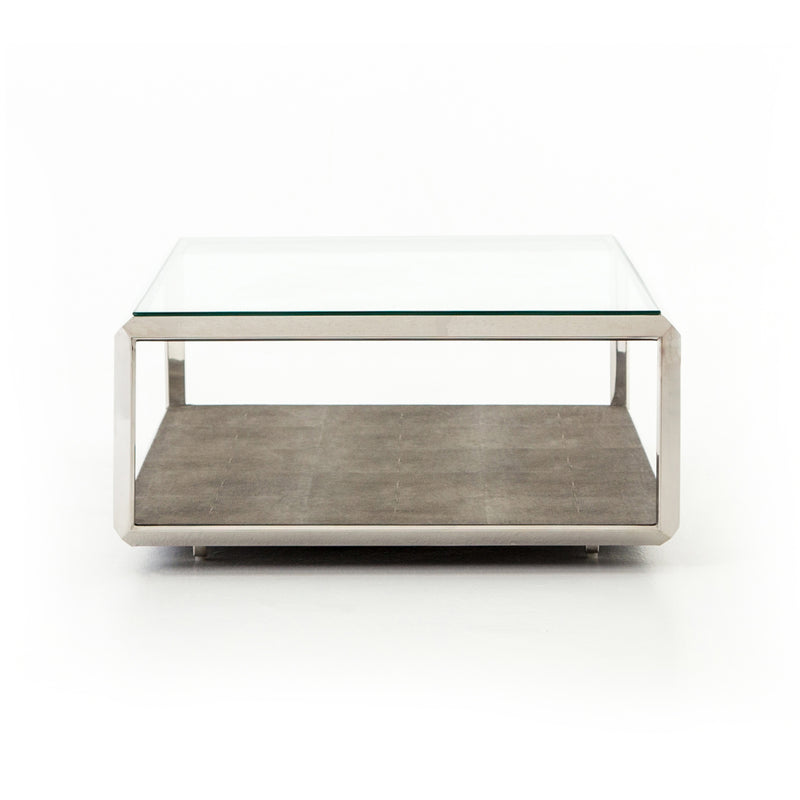 Morrie Coffee Table Stainless Steel, Brown Shagreen, Tempered Glass
