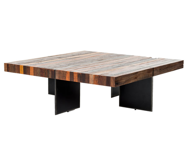 Cassian Coffee Table Black And Silver Metal, Natural Peroba