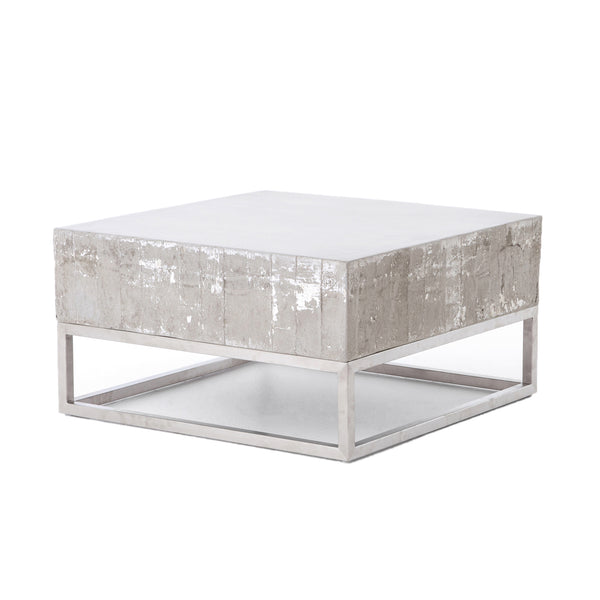 Marcel Coffee Table Stainless Steel, White Wash