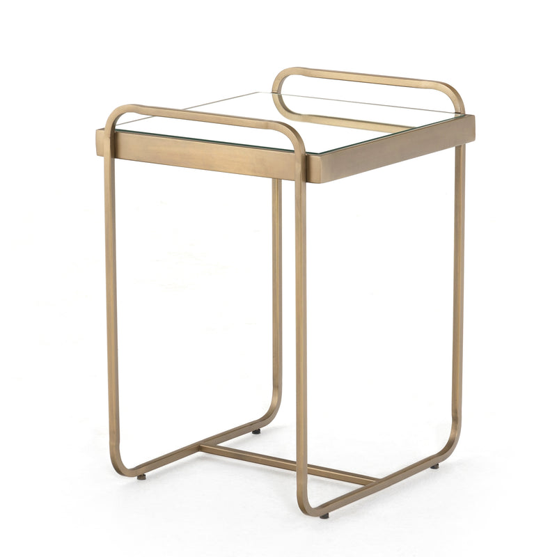 Mandel End Table Antique Brass