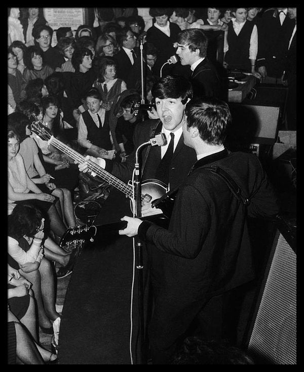 April 1963: British pop group The Beatles in concert.