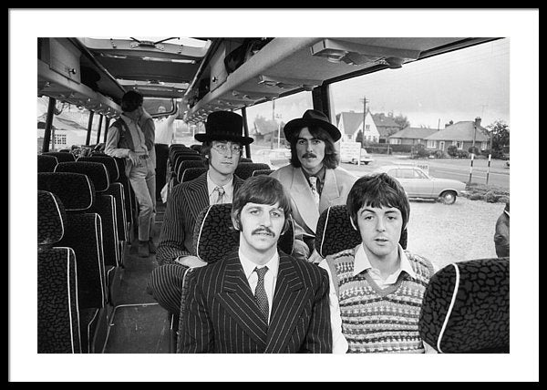 The Beatles travel by coach to the West Country Framed Print