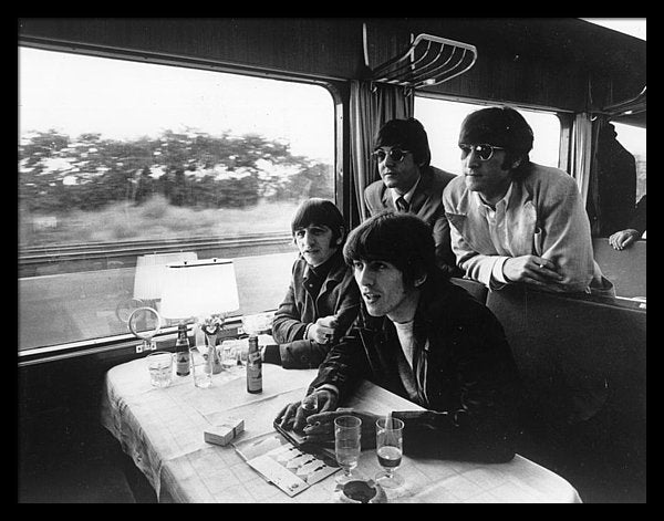 The Beatles touring by train in Europe