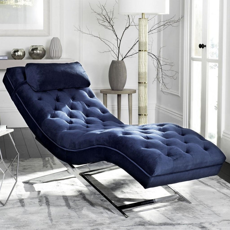 Boyd Chaise W/ Headrest Pillow Navy/ Silver