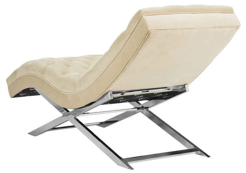 Boyd Chaise W/ Headrest Pillow Beige/ Silver