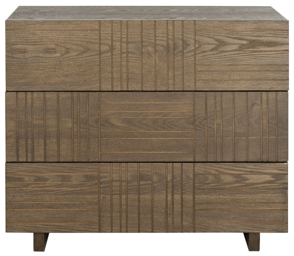 George Mid Century Scandinavian Three Drawer Cabinet Dark Brown