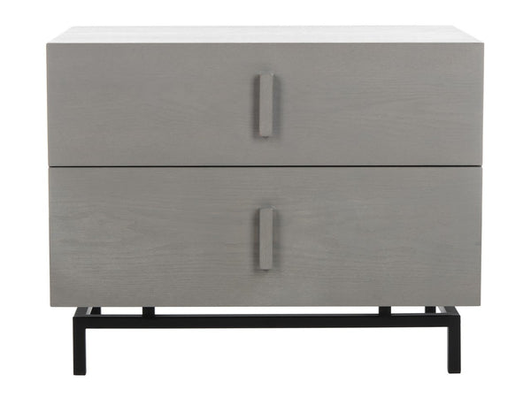 Chey Mid Century Scandinavian Lacquer Two Drawer Cabinet Grey/ Black