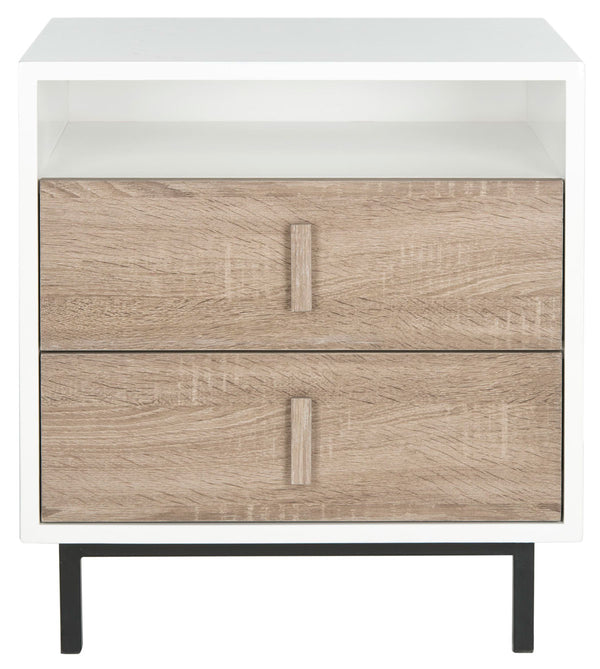 Francy Mid Century Scandinavian Lacquer Two Drawer Cabinet White/ Oak/ Black