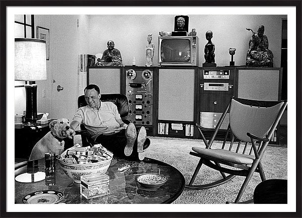 Entertainer Frank Sinatra Relaxing W/ pet dog Ringo Framed Print