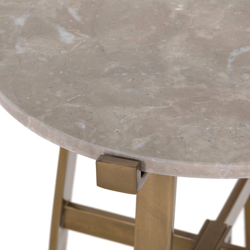 Blake Nightstand/End Table Taupe Marble