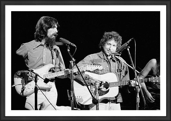 George Harrison & Bob Dylan Perform In Framed Print