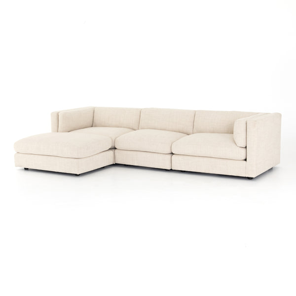 Langston 3 Piece Sectional w/Ottoman Irving Taupe