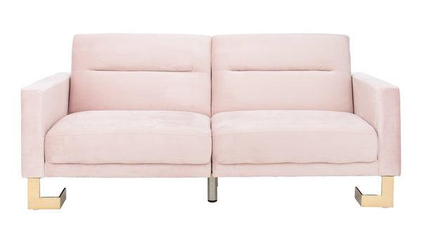 Bree Foldable Sofa Bed Blush Pink/ Brass