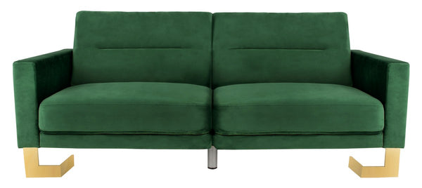 Bree Foldable Sofa Bed Emerald/ Brass