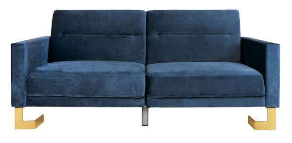 Bree Foldable Sofa Bed Navy/ Brass