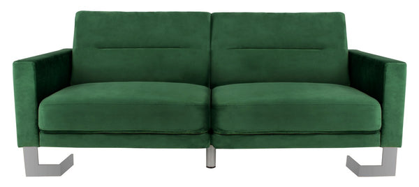Bree Foldable Sofa Bed Emerald Green/ Silver