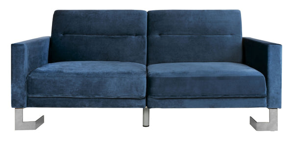 Bree Foldable Sofa Bed Navy/ Silver