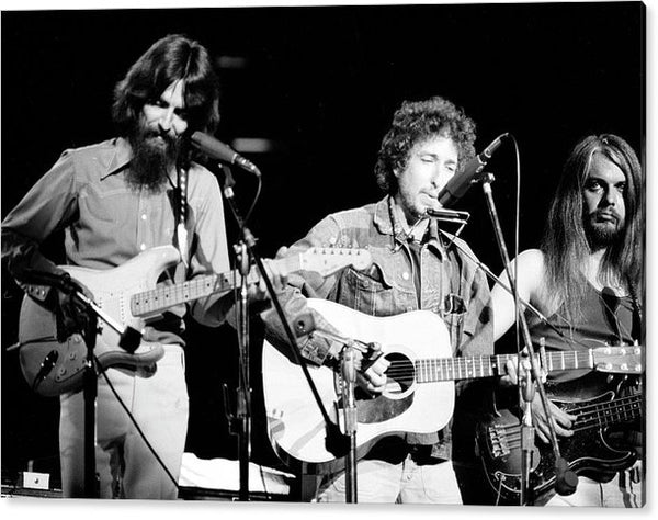 George Harrison (1943 - 2001) (left), American musician Bob Dylan (center),Acrylic Print