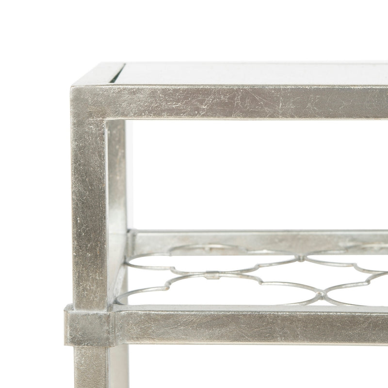 Calida Silver Leaf Glass Side Table