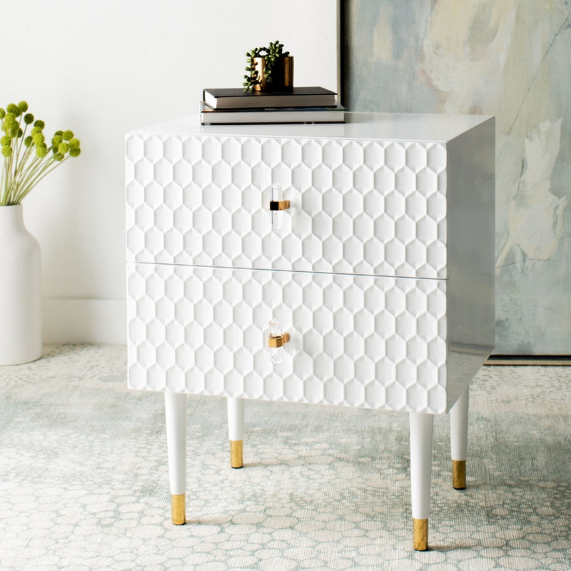 Beonica 2 Drawer Side Table White / Gold