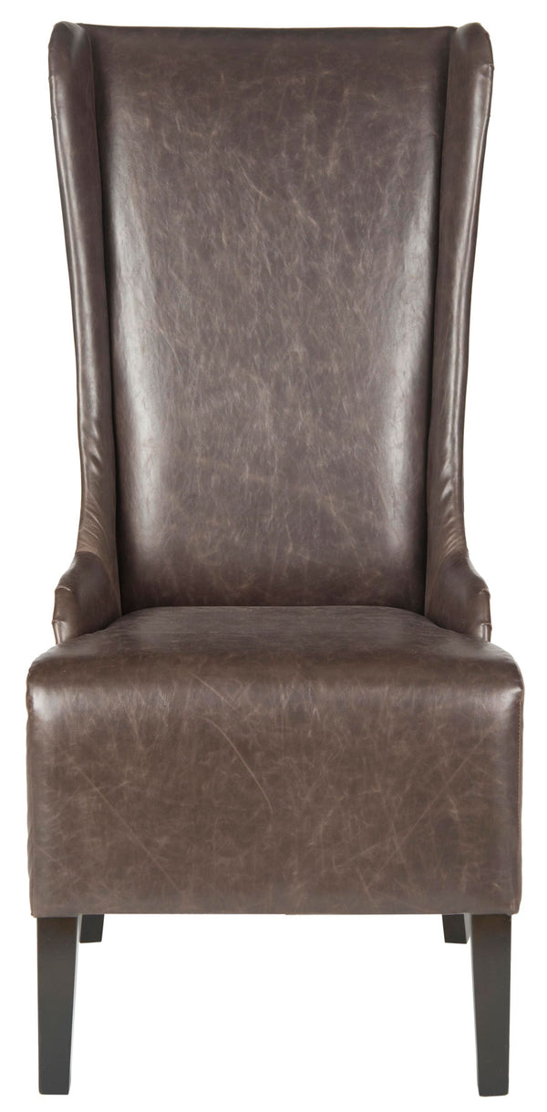 Lauren 20'' H Leather Dining Chair (Set of 2) Antique Brown/ Espresso