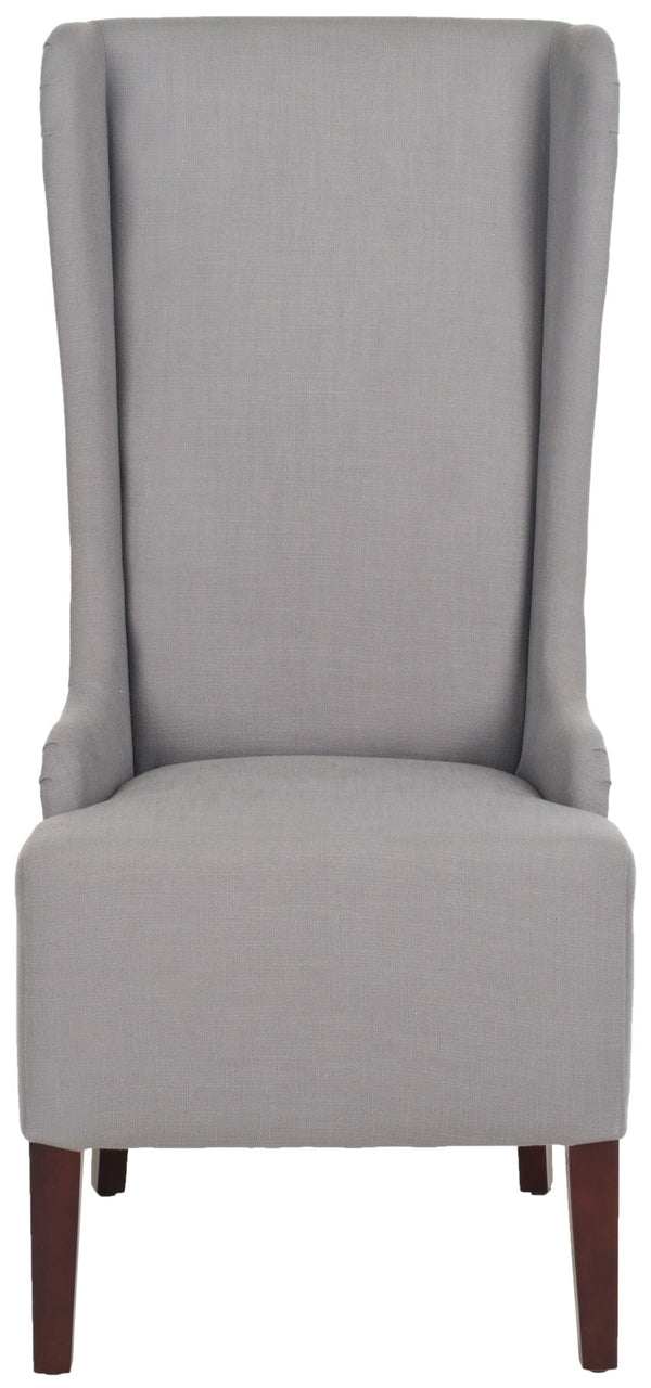Lauren 20'' H Linen Dining Chair (Set of 2) Artic Grey/ Cherry Mahogany
