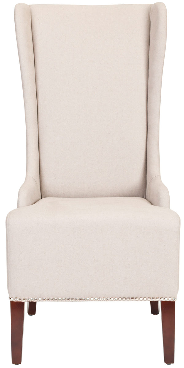 Lauren 20'' H Linen Dining Chair (Set of 2) Taupe/ Cherry Mahogany