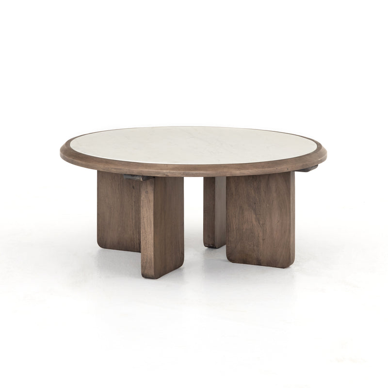Cohen Round Coffee Table Reclaimed Ashen Brown, Polished White Marble