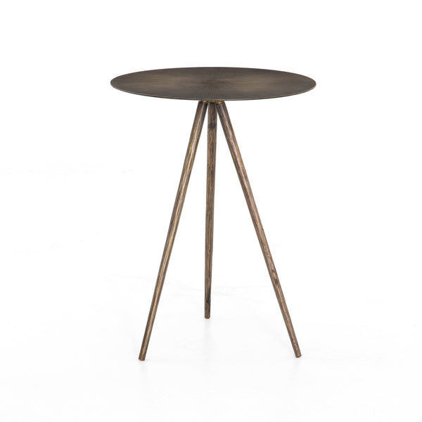 Iris End Table Aged Brass