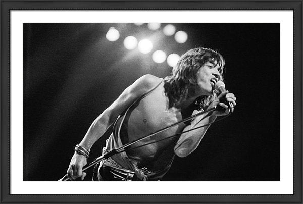 Mick Jagger performing the Knebworth Festival, Hertfordshire, 21st August 1976